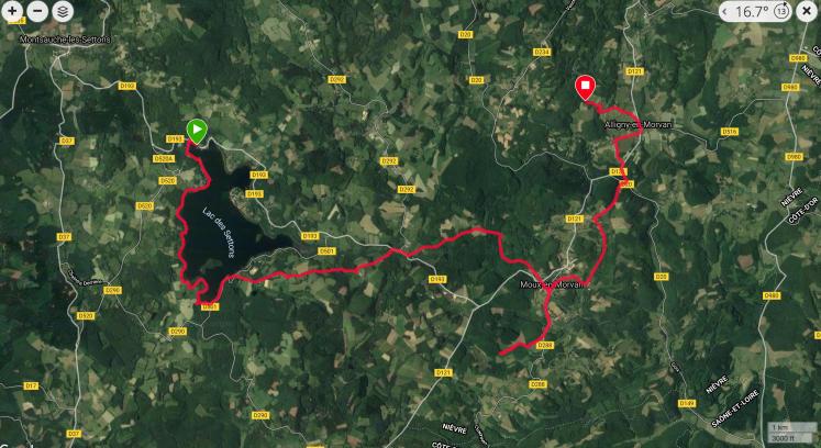 GR13 4-Lac des Settons-Aligny en Morvan Carte