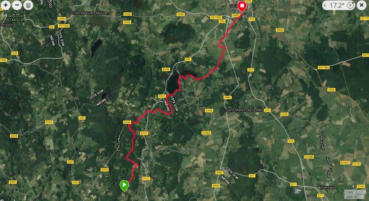 GR13 5-Aligny en Morvan - Saulieu Carte